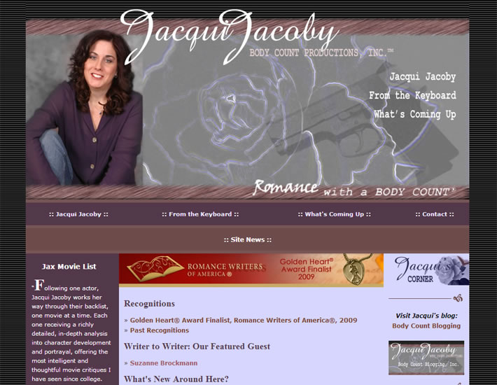 Jacqui Jacoby, author, homepage screenshot