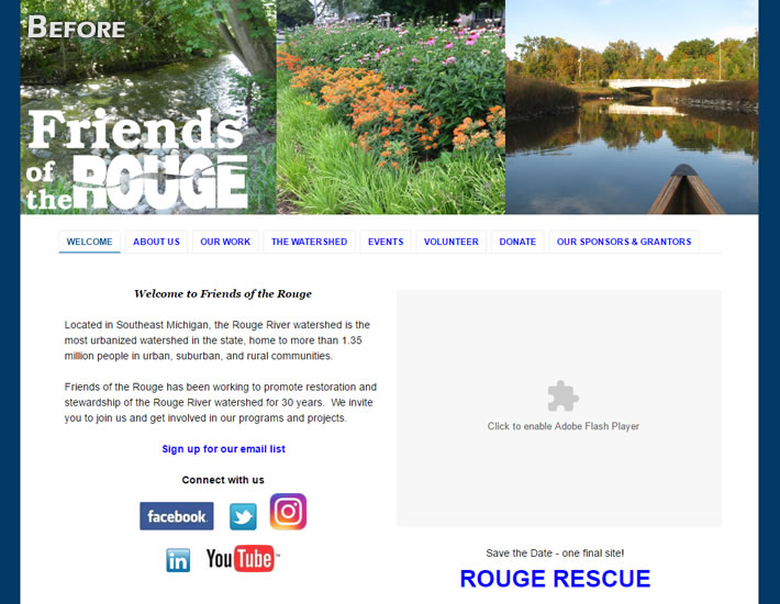 Friends of the Rouge website screenshot before renovation