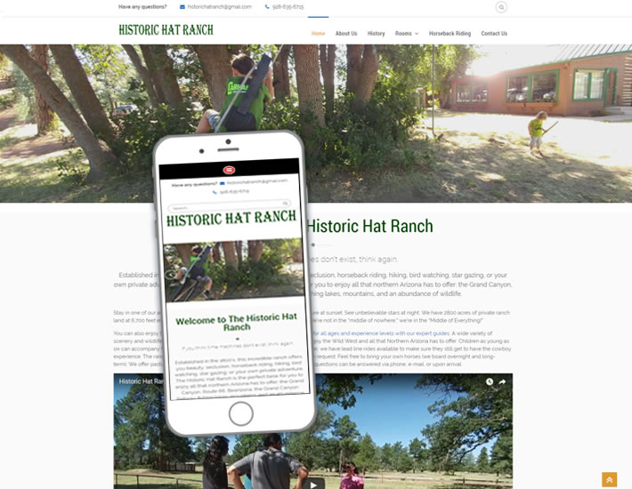 Screenshot of the Historic Hat Ranch's homepage