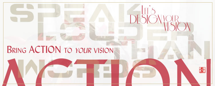 Collage of designed materials with a tagline, Let's Design Your Vision