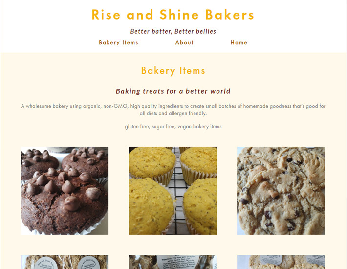 Rise and Shine Bakers' Bakery Items page