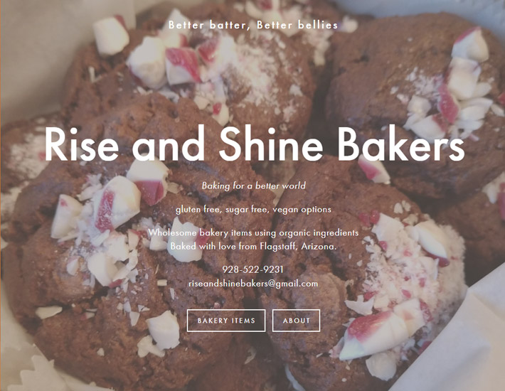 Rise and Shine Bakers homepage