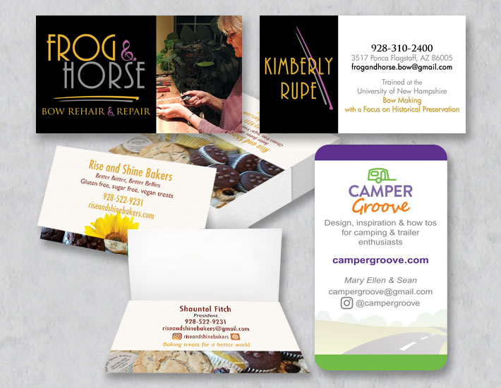 Frog & Horse, Rise and Shine Bakers, and CamperGroove's Business cards in a collage