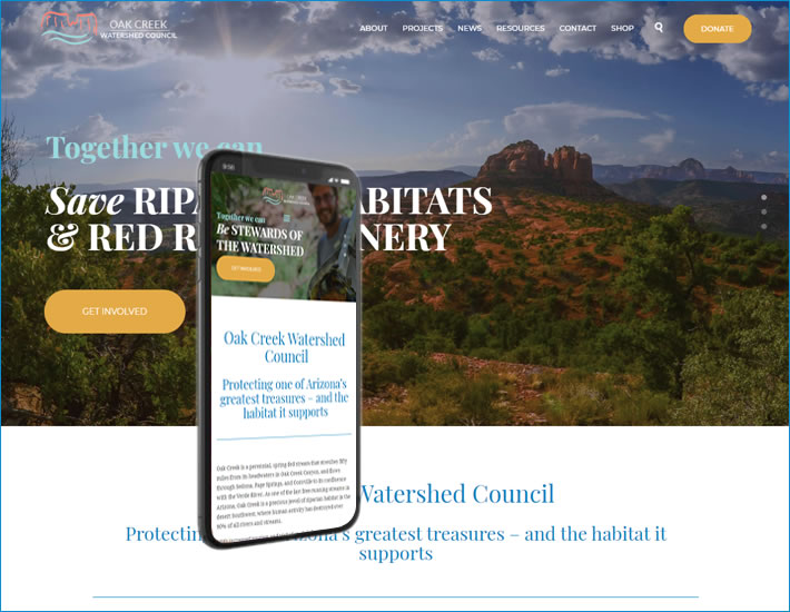 Oak Creek Watershed Council's homepage screenshot - new site 2019