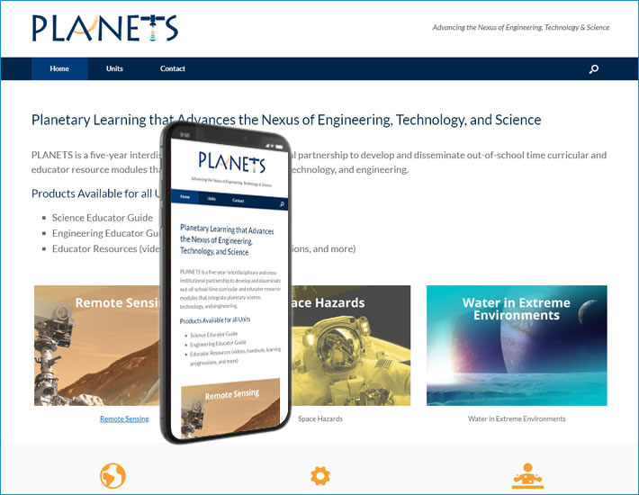 PLANETS-stem website homepage screenshot