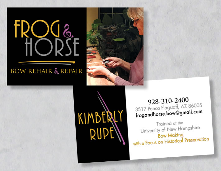 Frog and Horse business card collage