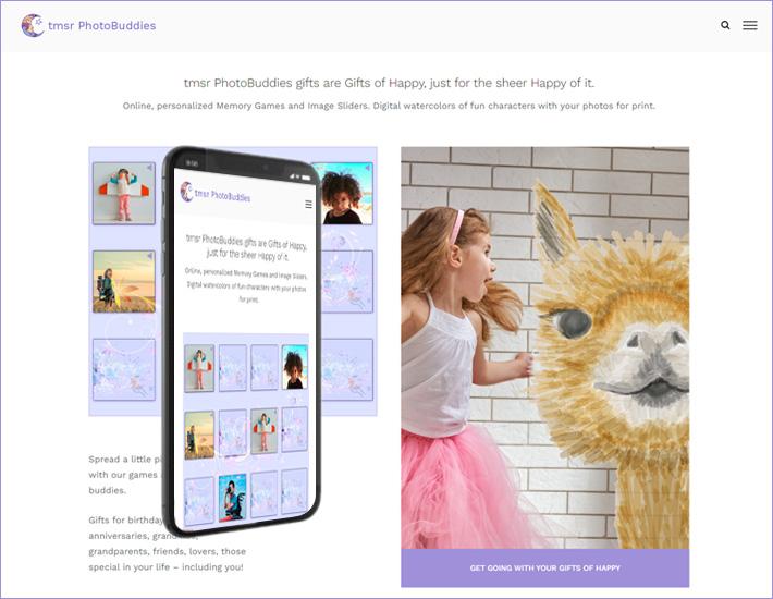 Homepage screenshot for the tmsr PhotoBuddies website on desktop and mobile.